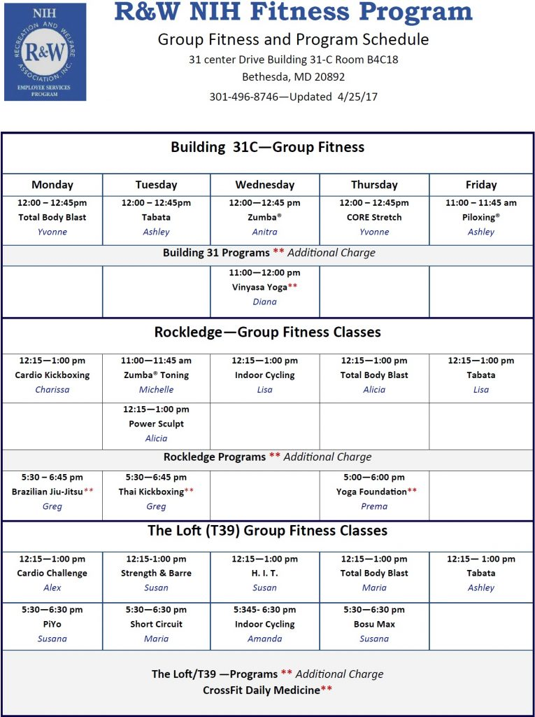 May 2017 Group Fitness Schedule