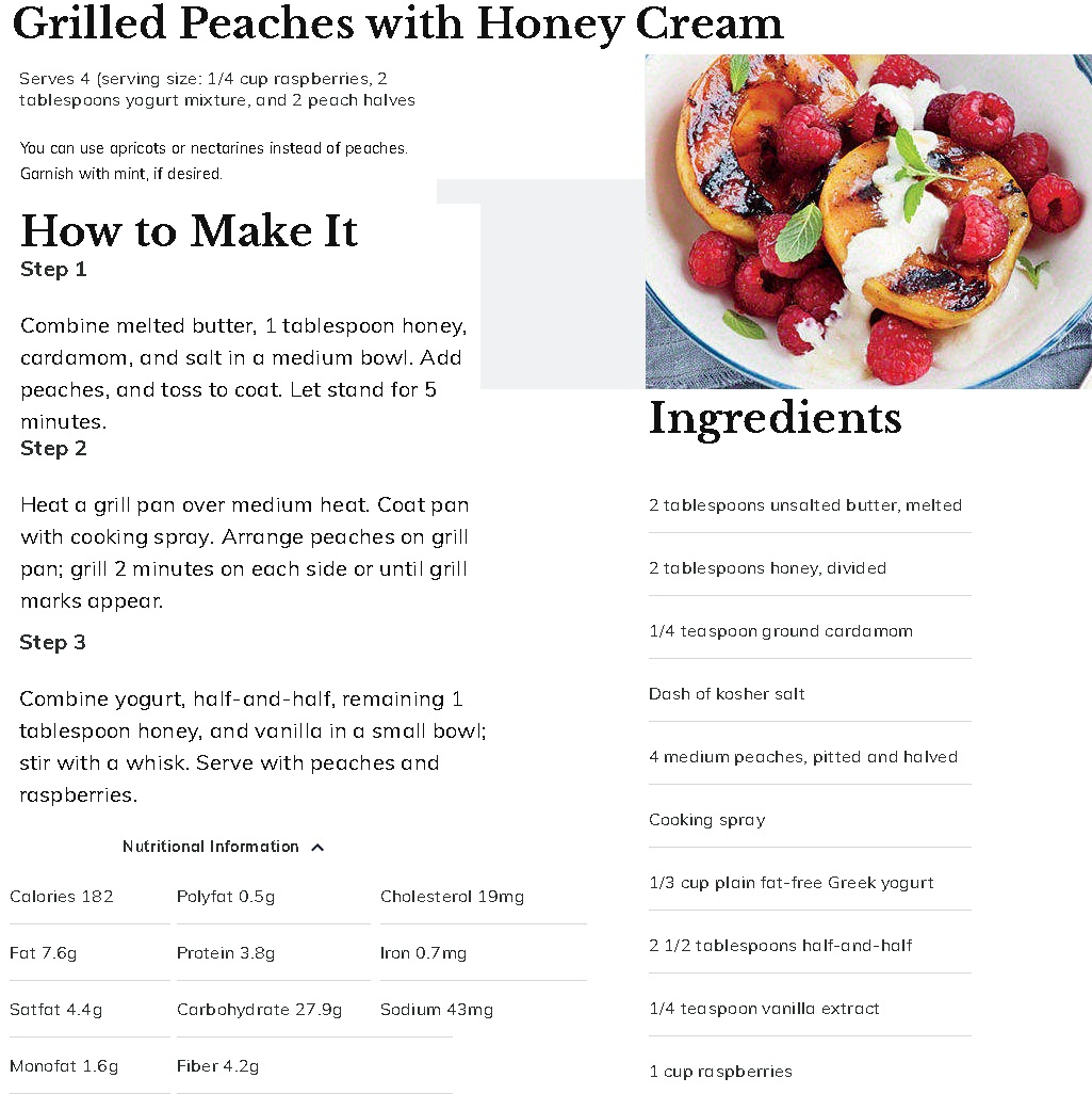Grilled Peaches Honey