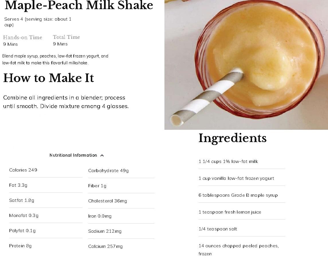 Maple Peach Milk Shake