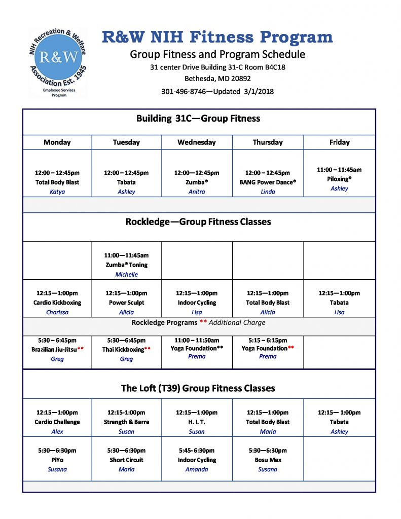 2018 Group Fitness Schedule