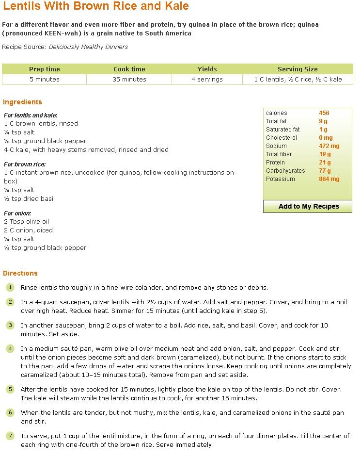 Lentils Brown Rice Kale