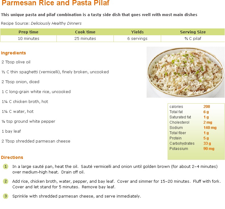 Parmesan Rice Pasta Pilaf
