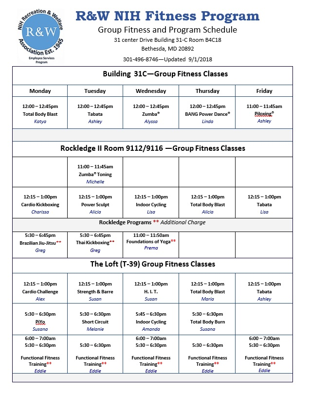 Fall 2018 Fitness Schedule