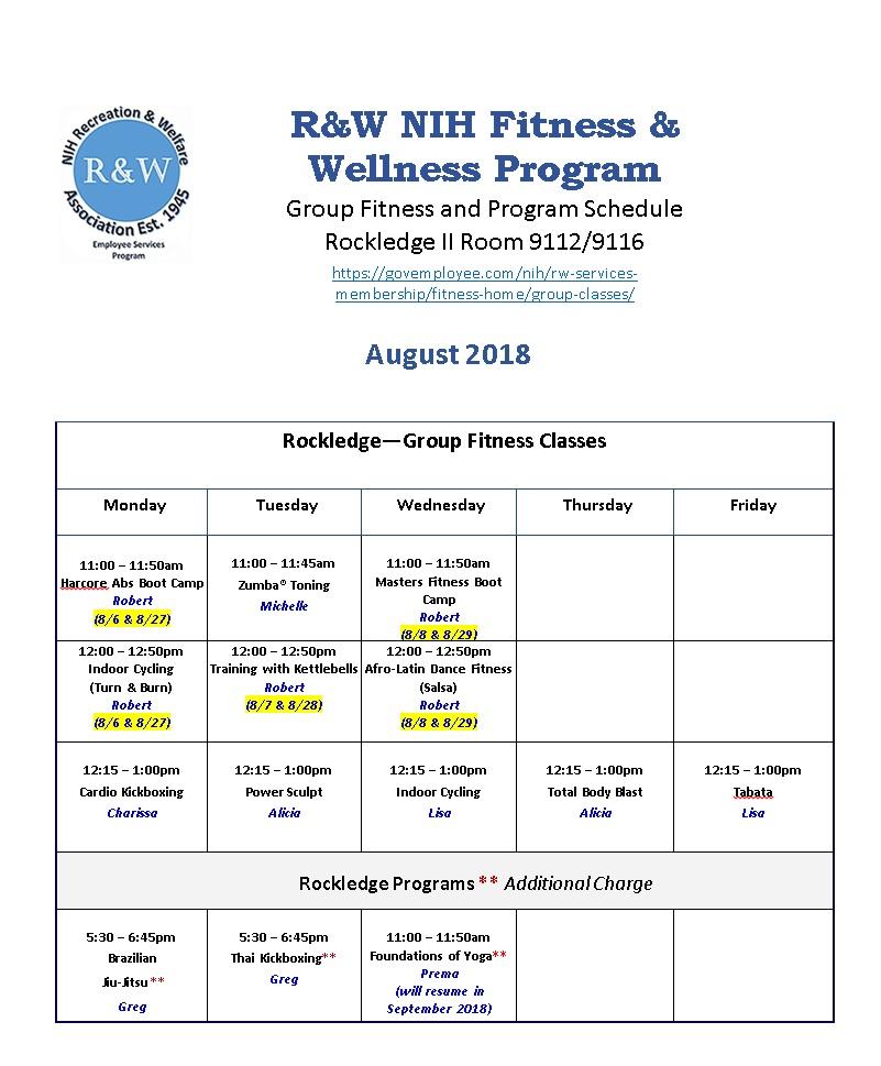 August Rockledge Schedule