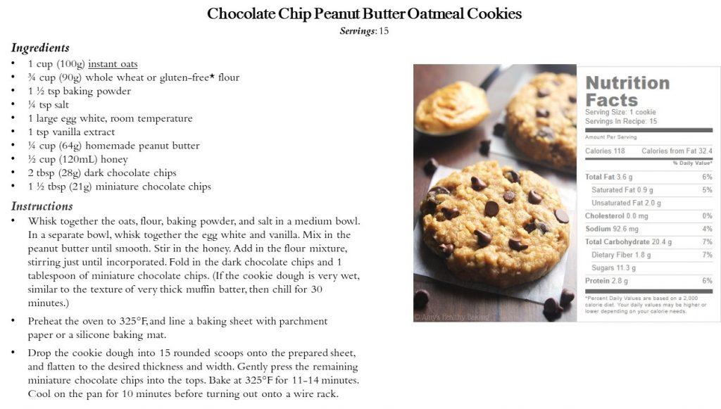 Chocolate Chip PB Oatmeal Cookies