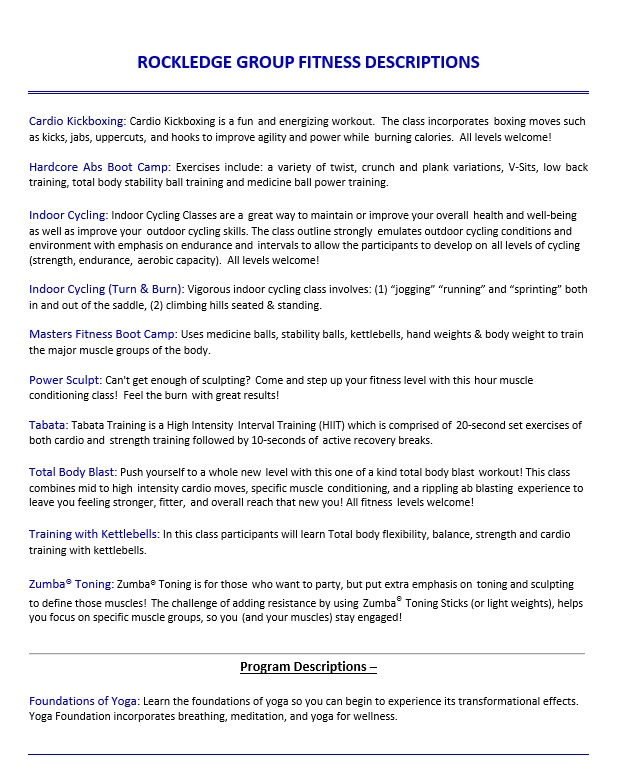 Rockledge Group Descriptions