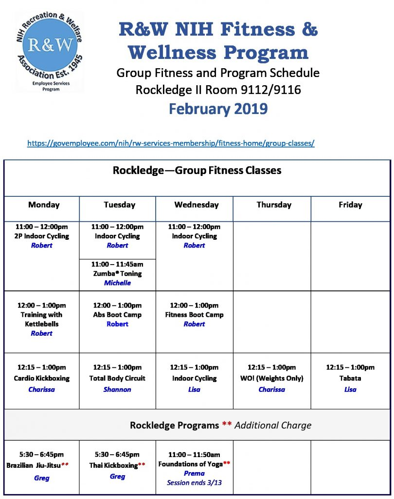 February 2019 Rockledge Schedule