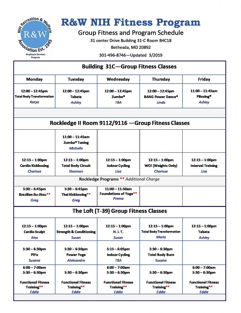 April 2019 Group Fitness Schedule