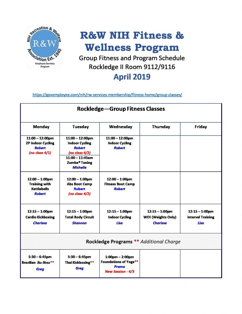 April 2019 RKL Group Fitness Schedule