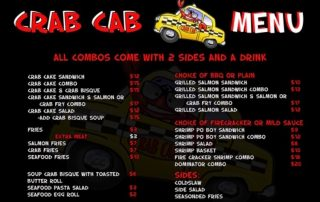 Crab Cab Menu