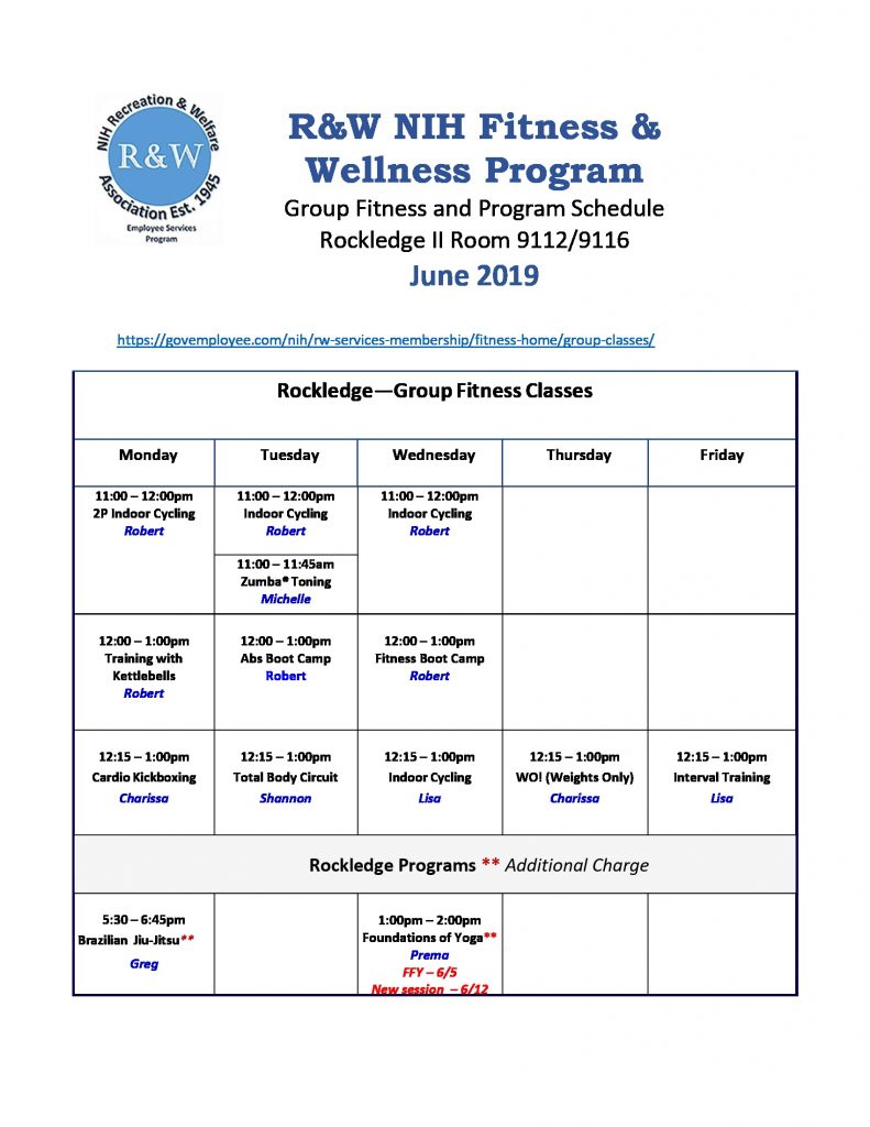 June 2019 Rockledge Group Fitness Classes