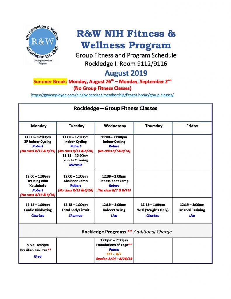 August Rockledge Group Fitness Schedule