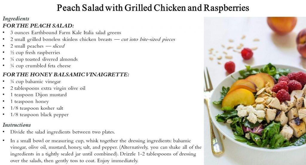 Peach Salad w/Grilled Chicken and Raspberries