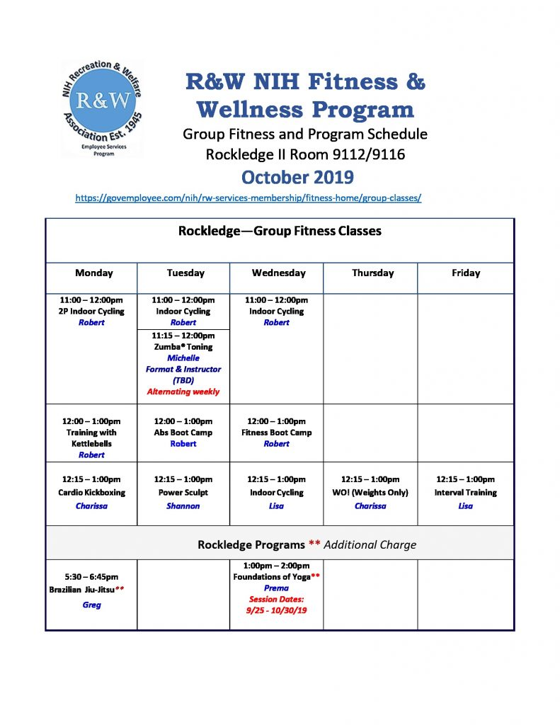 October 2019 Rockledge Fitness Classes