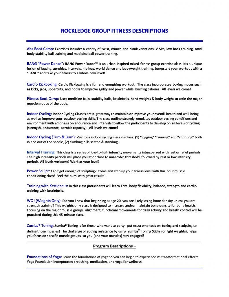 Rockledge Fitness Descriptions October 2019