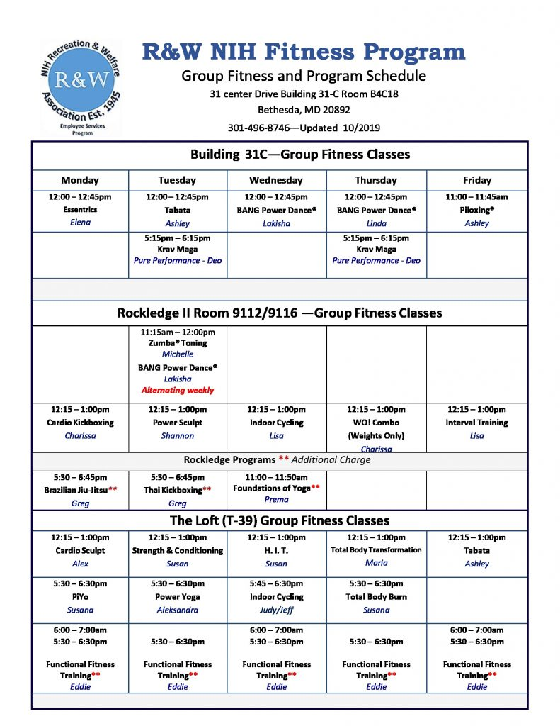 October 2019 Group Fitness Schedule