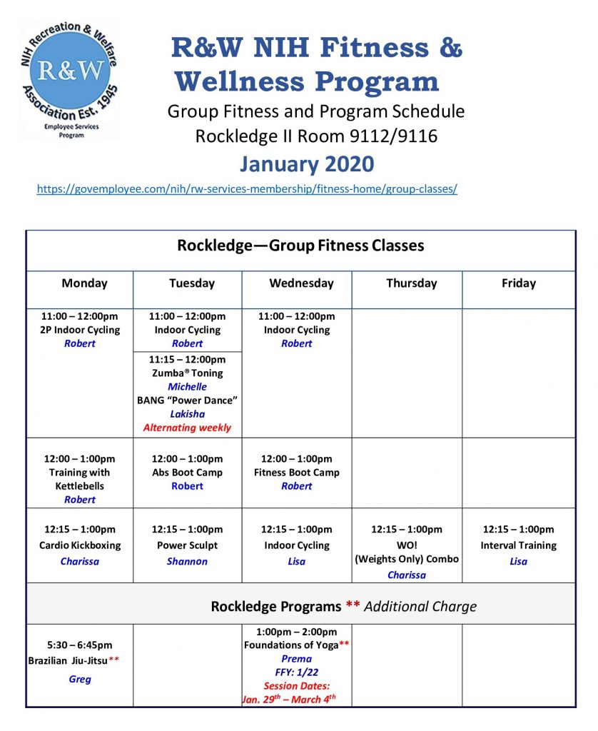 January 2020 Group Fitness Schedule