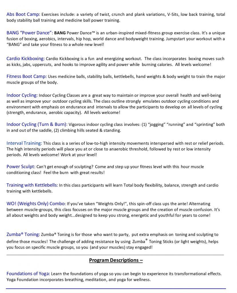 RKL Group Fitness Descriptions February 2020