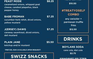 Swizzler Hot Dog Menu