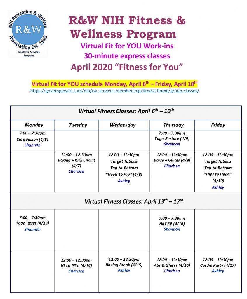 Virtual S hedule April 6-17