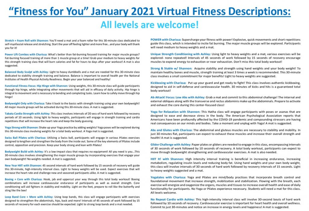 January 2021 Fitness Descriptions