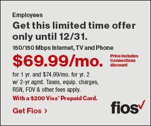 Verizon Fios—$69.95/month
